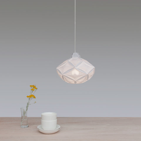 Airy RI-20 white geometric pendant lamp in the shape of rhombic icosahedron by 24d-studio