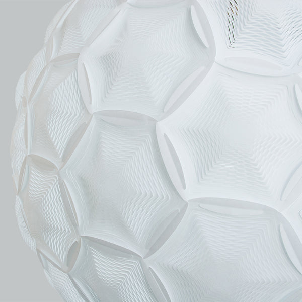 Airy Sphere Pendant white rice paper lamp zoom-in detail of interlocking hexagon and pentagon perforated panels