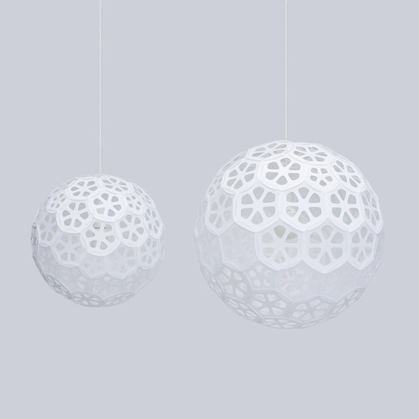 Large and medium Flower Ball light fixtures made by 24d-studio