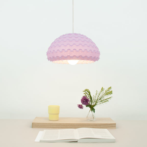 Soft Purple pendant lamp shade from washi paper over dining table