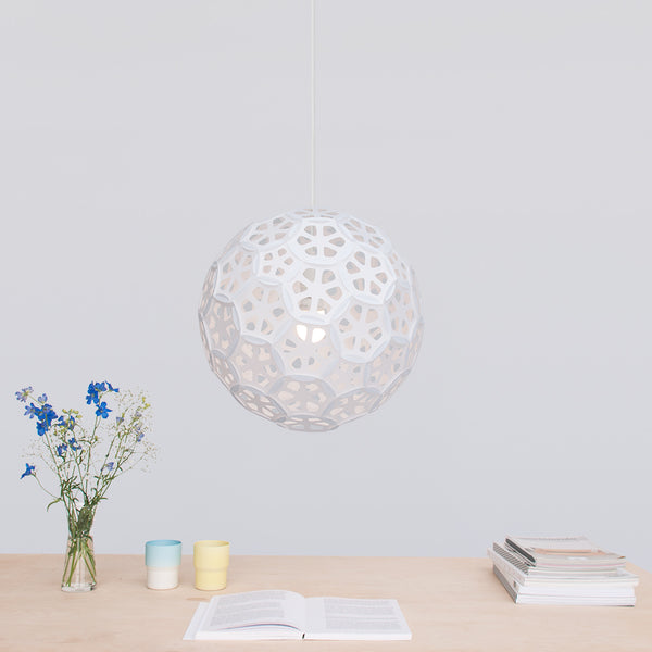 White Globe ceiling Lamp is perfect for over a dining room table Flower Ball made by 24d-studio