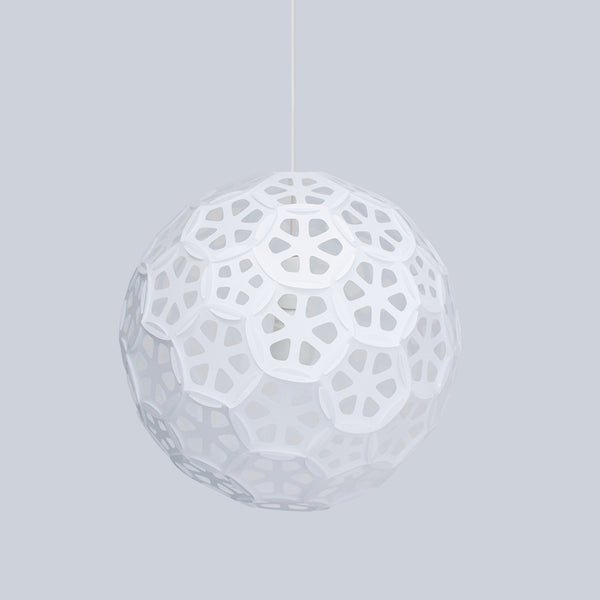 Flower Ball medium size sphere ceiling lamp is made with 70 interlocking panels by 24d-studio