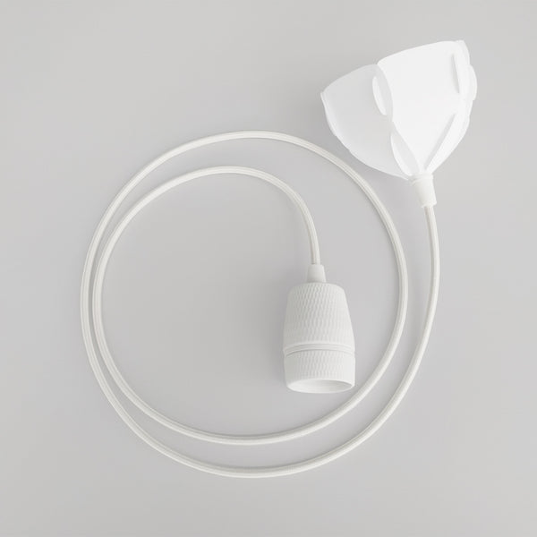 porcelain lamp holder E27 with white fabric cord and ceiling cap EU standard