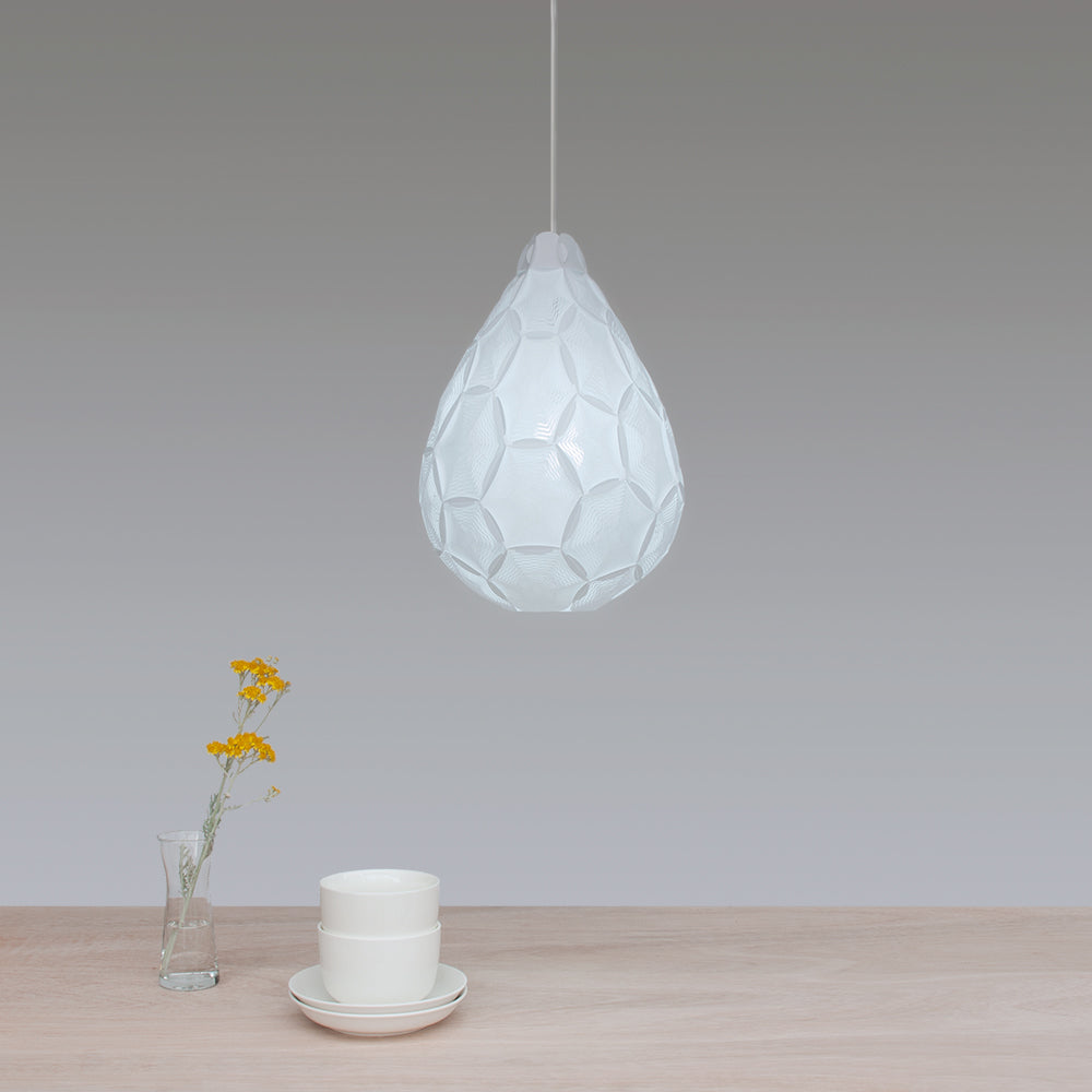 Small white teardrop white suspension lamp Airy S made by 24d-studio from laminated rice paper in Japan