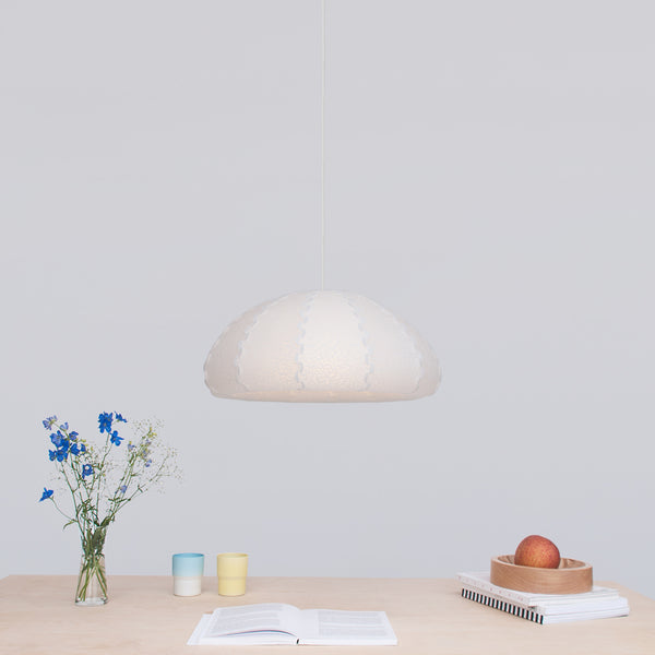 White small bell-shaped pendant light - Puff S made by 24d-studio