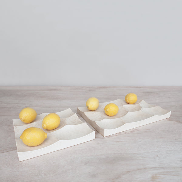 small and large Storm trays in maple wood made in Japan by 24d-studio