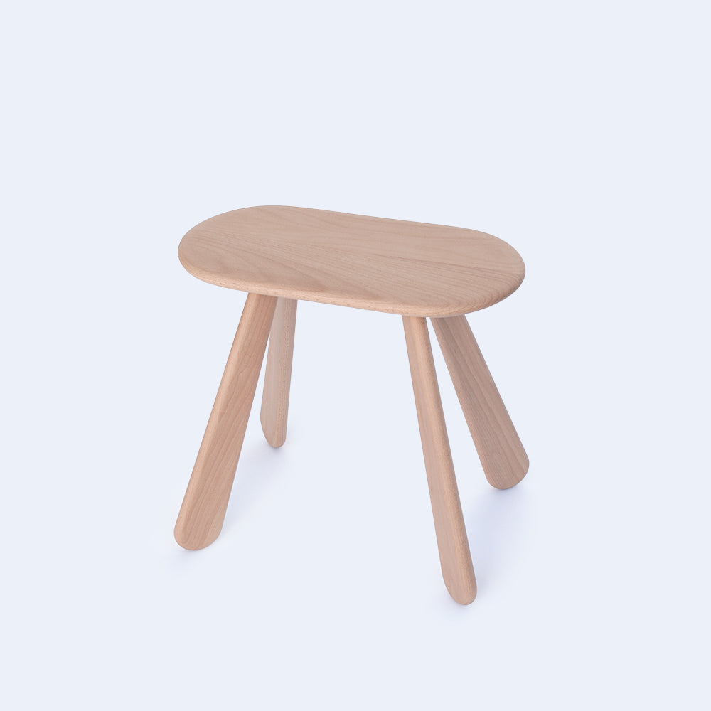 Oval solid wood stool made in Japan by 24d-studio