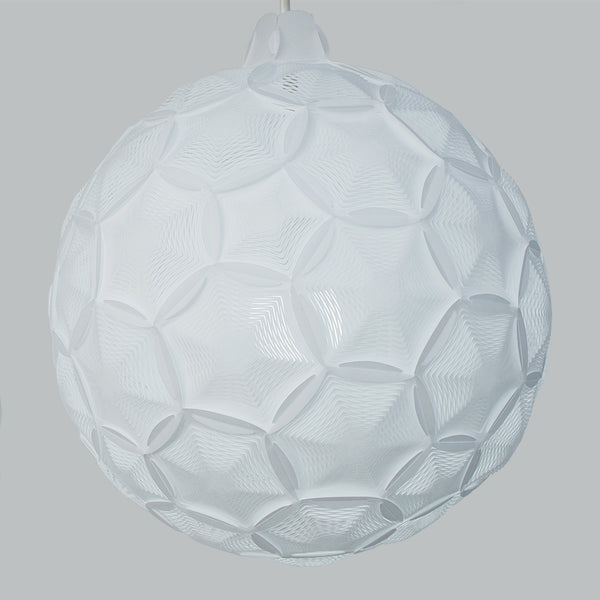 white interlocking panels provide indirect light in Airy Sphere lamp by 24d-studio
