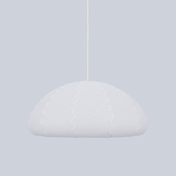 white bell pendant lamp Puff Small made from laminated rice paper by 24d-studio