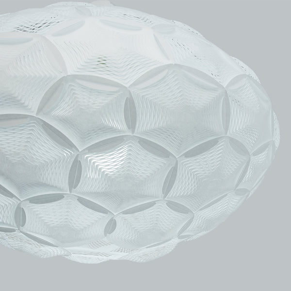 Airy Medium Pendant Lampshade zoom-in detail of perforated rice paper hexagon and pentagon interconnected panels designed by 24d-studio