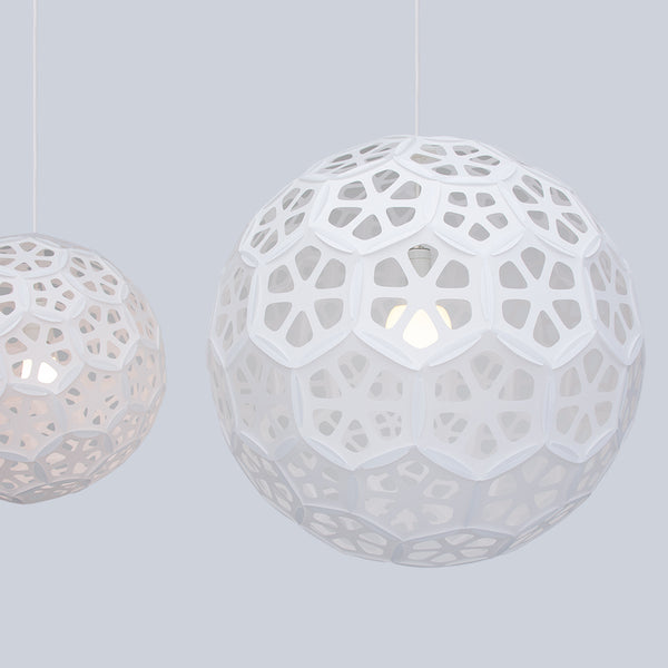 Shade detail of large white globe suspension lamp Flower Ball