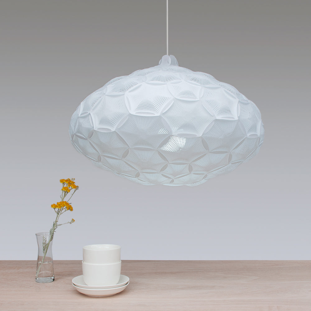 Large geometric cloud pendant lamp in white color, Airy made by 24d-studio