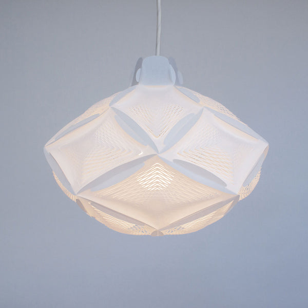 Bright white small origami inspired lamp Airy RI20 by 24d-studio