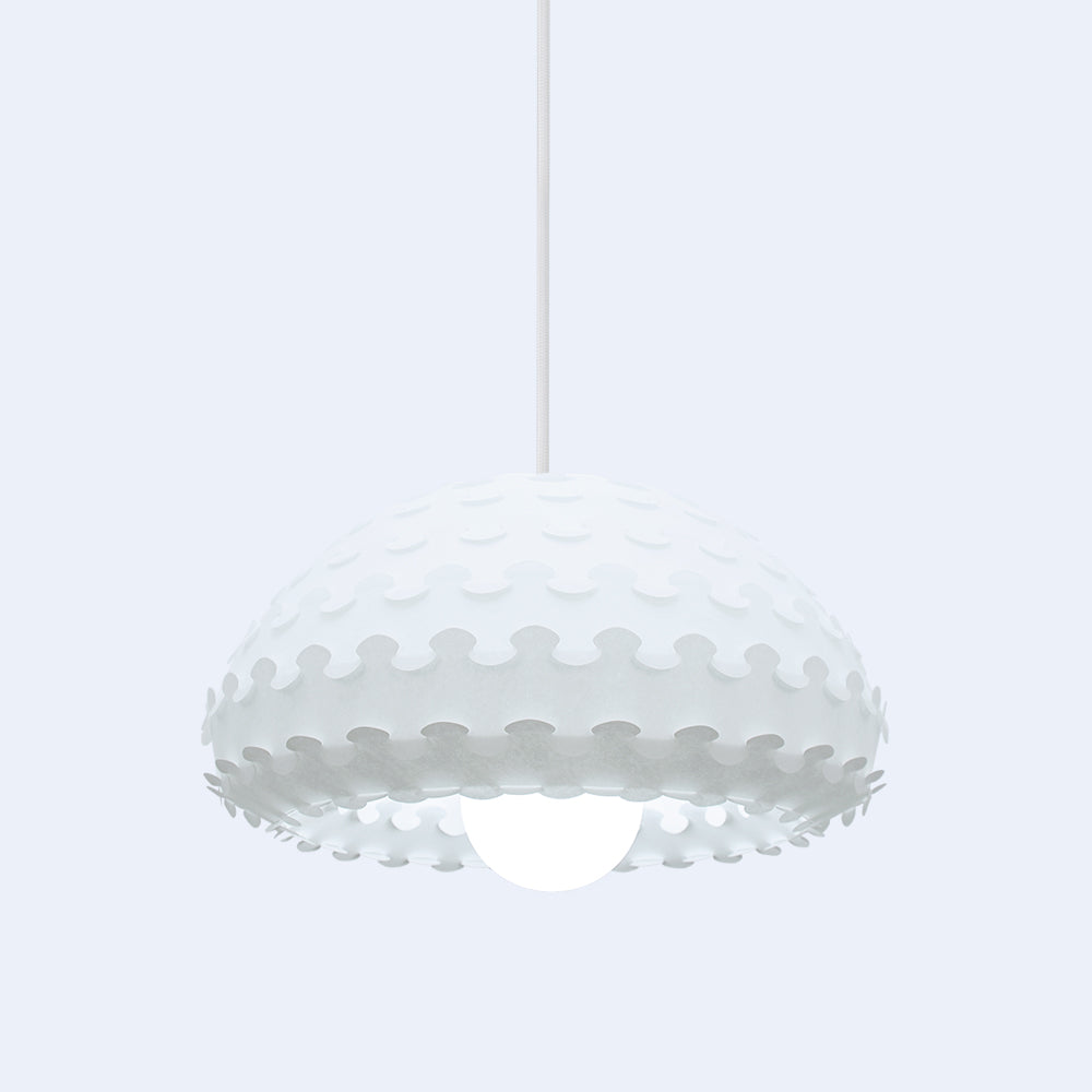 White ornate small hanging lamp Kasa W by 24d-studio