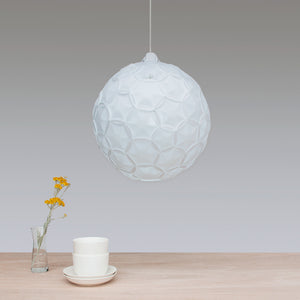 white sphere lamp shade made from laminated rice paper, Airy Sp made by 24d-studio