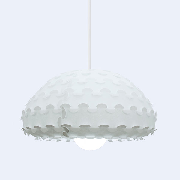 Interlocking shade detail in white Kasa pendant light by 24d-studio