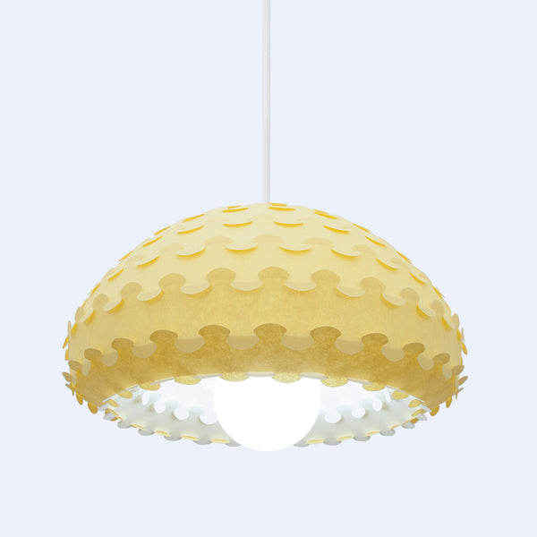 yellow and white dome pendant lamp shade Kasa
