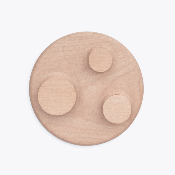 Orbit large size hanger with three wood hooks in solid beech wood made by 24d-studio
