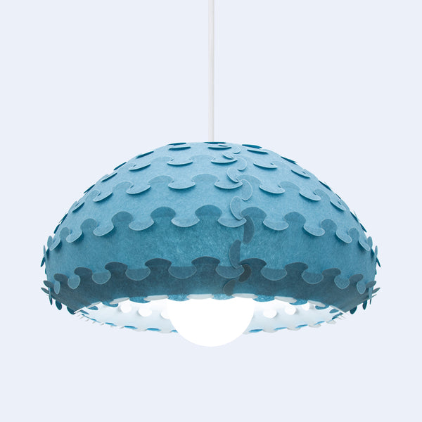 interlocking detail inspired by Japanese crafts in Kasa blue pendant light by 24d-studio