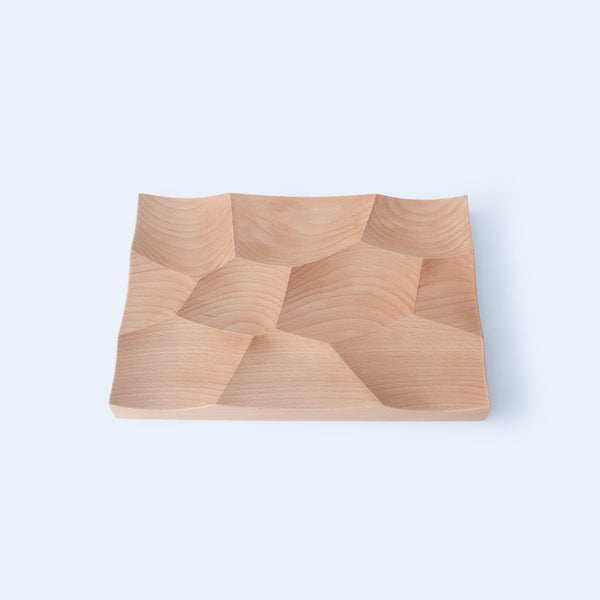 Large Storm tray in beech wood inspired by landscapes of Japan and made by 24d-studio