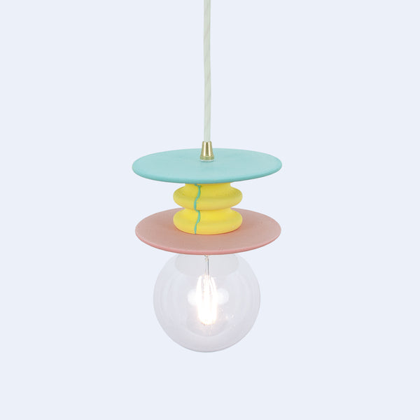 sea green, yellow and pink cast ceiling lamp in mineral polymer made in japan by 24d-studio