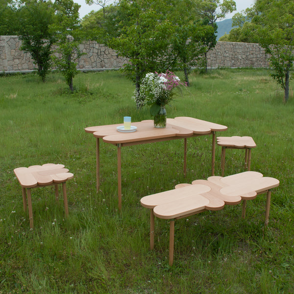 Moku+ furniture collection from natural materials and is inspired by wooden puzzles made by 24d-studio
