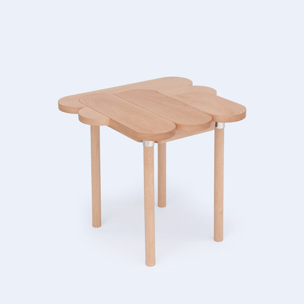 Wood stool is inspired by oval graphics made with Japanese crafstmanship by 24d-studio