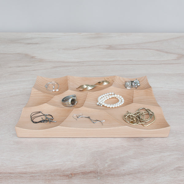 Large Storm Tray in beech wood is perfect for organization and jewelry display