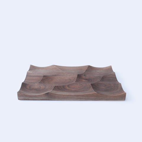 Walnut large Storm tray is inspired by Japan landscapes, designed and made by 24d-studio