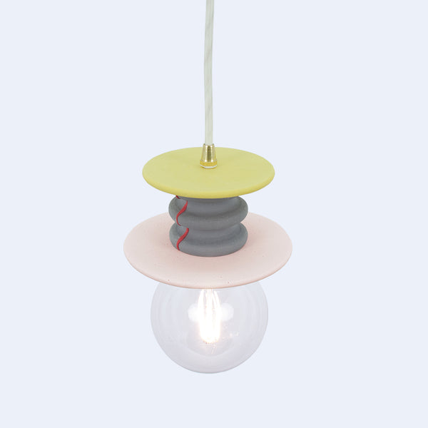 Frutti  pendant lamp in yellow, purple and pink is one of a kind lamp made in Japan by 24d-studio