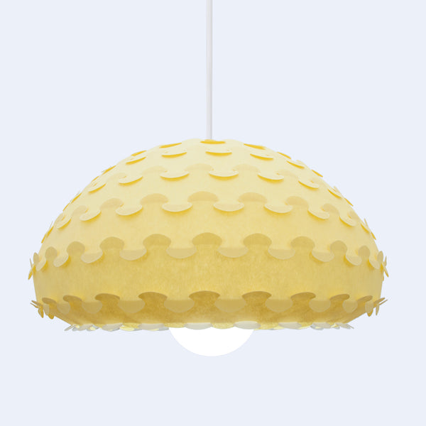 mini yellow bell shaped pendant lamp Kasa by 24d-studio