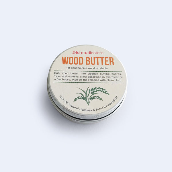 Wood butter is for conditioning wood products made from 100% natural ingridients and made by 24d-studio in Japan