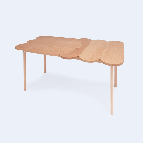 Wood table inspired by children's puzzles, made in Japan by 24d-studio