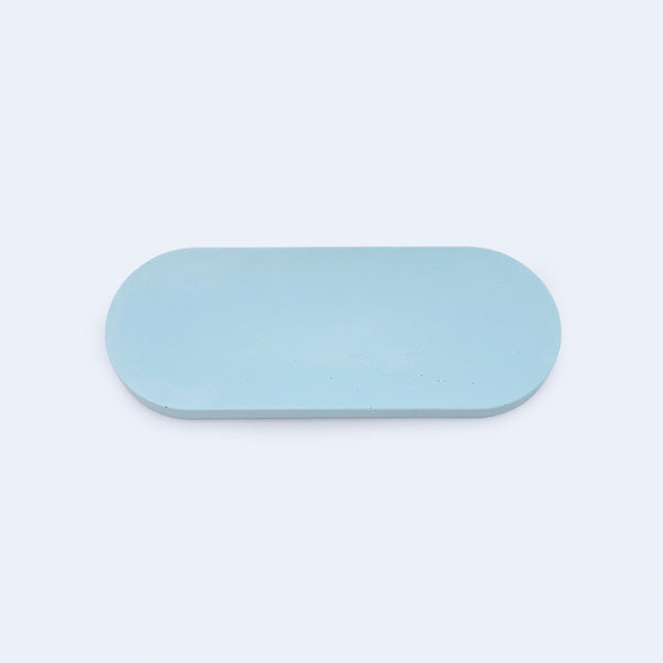 small oval tray in blue, botanica by 24d-studio
