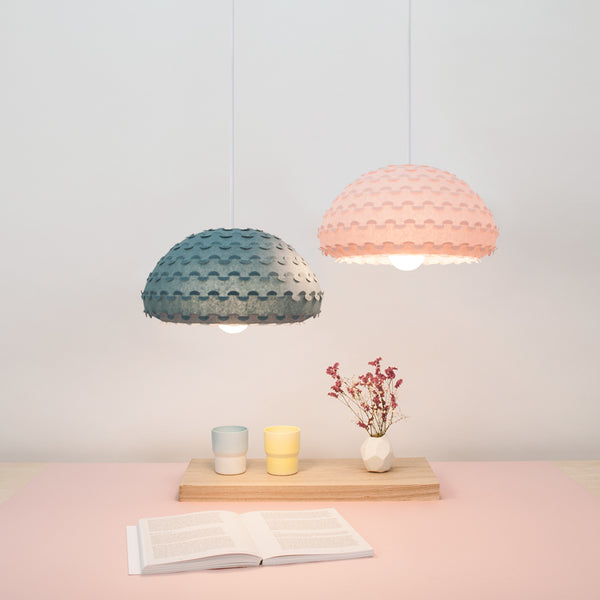 midnight blue and pastel pink small hanging lamps are perfect for dining and living rooms by 24d-studio