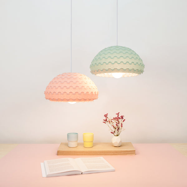 Pink and Mint Green pendant lamp shades in dining setting, Kasa lamps by 24d-studio