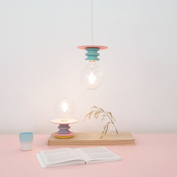 colorful reading lamp in pink and lavander colors, Frutti by 24d-studio