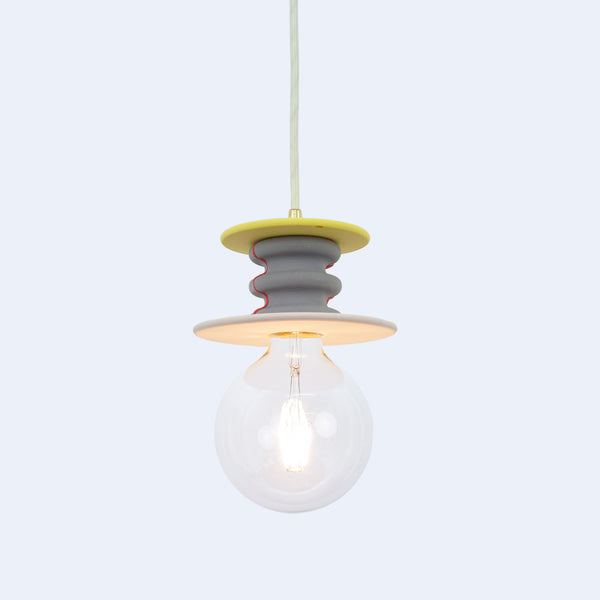 yellow, purple, and pink Frutti pendant lamp from mineral polymer by 24d-studio