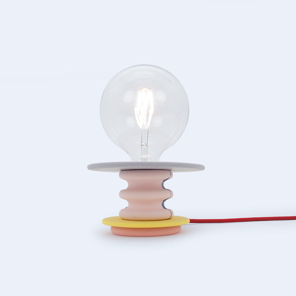reading lamp Frutti in lavander, pink, and yellow colored disks by 24d-studio