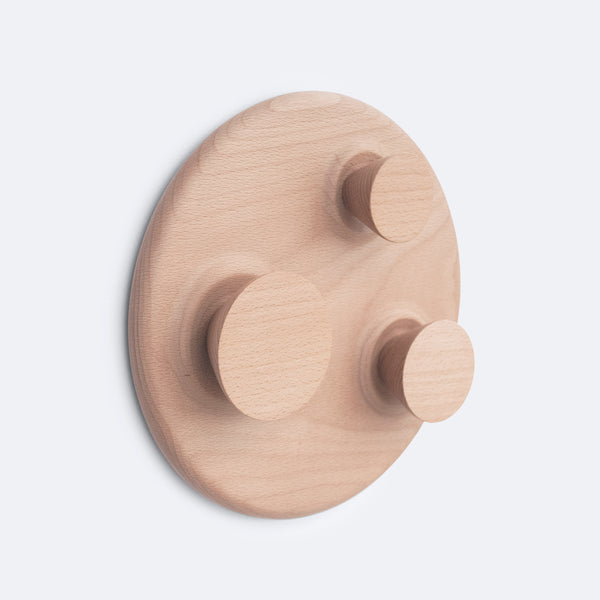 Large Orbit wood wall hanger has multiple hooks and is perfect for entry wall, bathroom or bedroom walls.