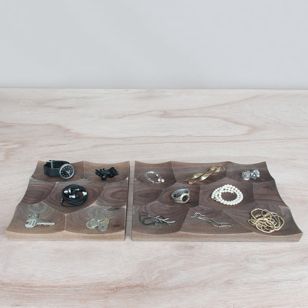 Large and Small Storm Tray in walnut is perfect for small item storage and display