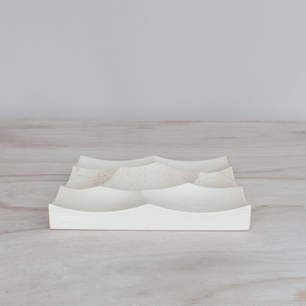 Small wood tray inspired by the oceans of Japan