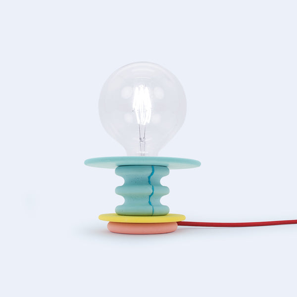 colorful mini desk lamp in green, yellow and pink colors, Frutti by 24d-studio