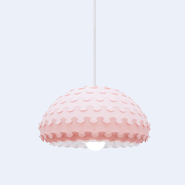 Pastel pink ornate pendant lamp from laminated rice paper Kasa by 24d-studio
