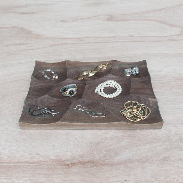 Large Storm Tray made from solid walnut wood is perfect for small accessories and jewelry storage and display