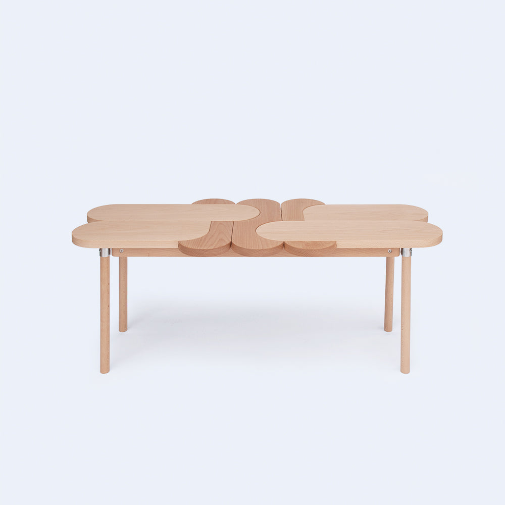 oval wood bench made in Japan by 24d-studio