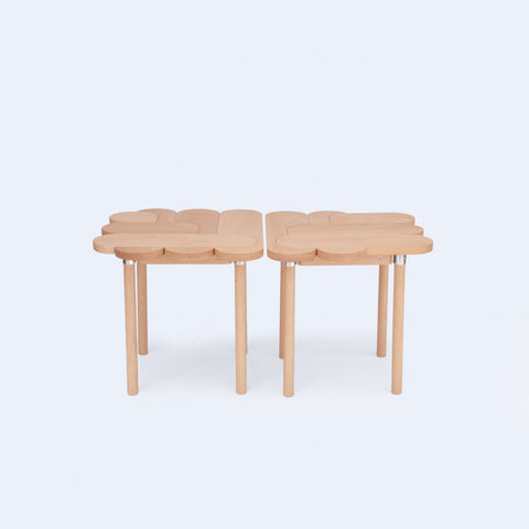 graphic stools made from solid wood and inspired by wood puzzles made in Japan by 24d-studio