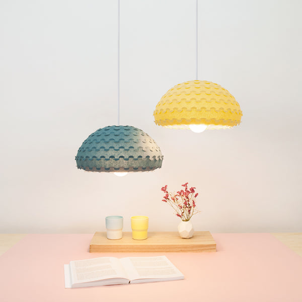 sunny yellow and midnight blue ceiling lamp shades Kasa lamps from Japan