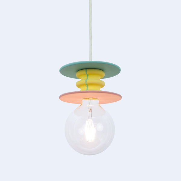 sea green and yellow bright pendant lamp cast in stone by 24d-studio