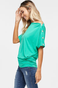119 Green Top with Buttons